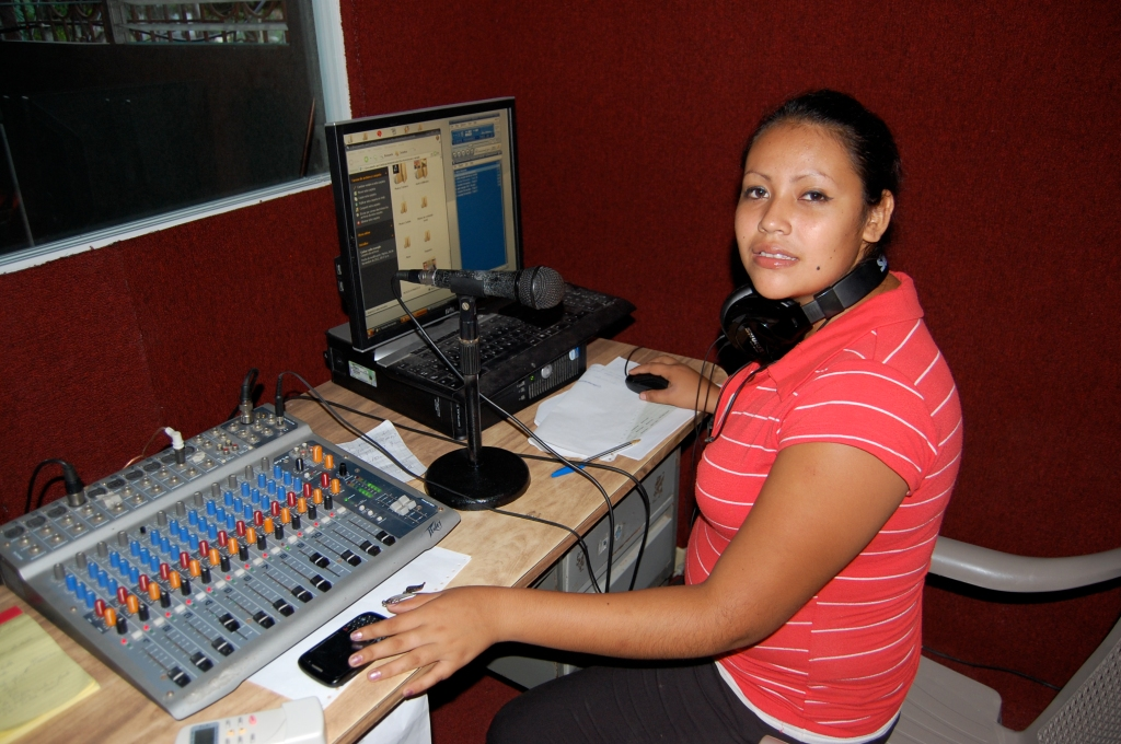 Ingrid at the Mangrove Radio station.